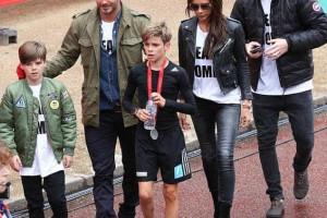 Família Beckham não perdeu corrida de Romeo