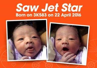 Depois de dar à luz no avião, deu o nome da transportadora ao filho