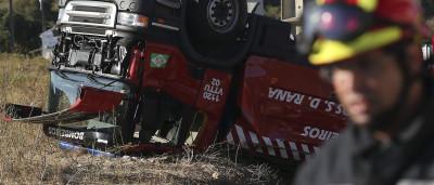 Cinco bombeiros feridos em despiste de veículo