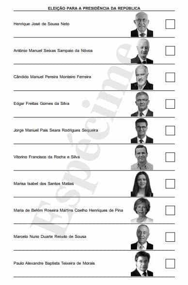 Este é o boletim no qual vai votar para escolher o novo Presidente