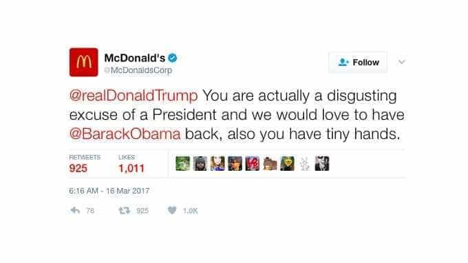 No Twitter da McDonald's surgiu insulto a Trump. Já foi apagado