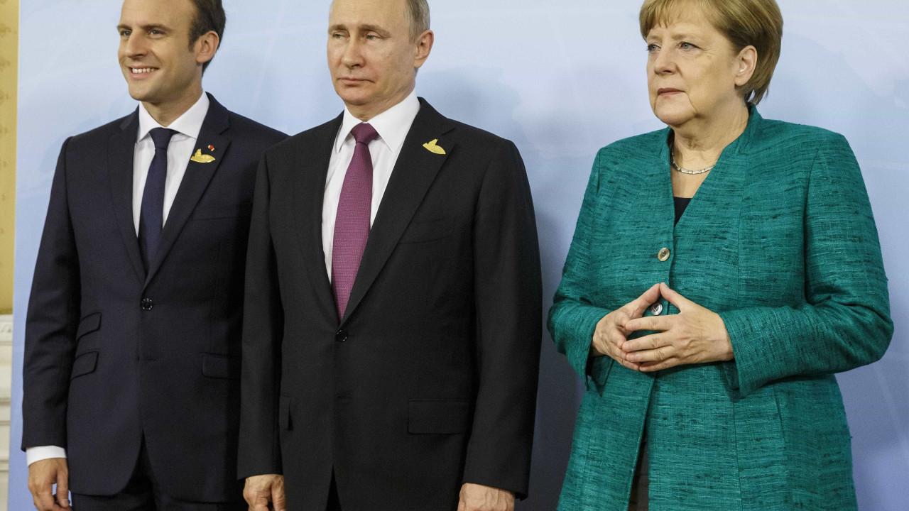 Macron e Merkel discutem hoje com Putin aplicação do cessar-fogo na Síria