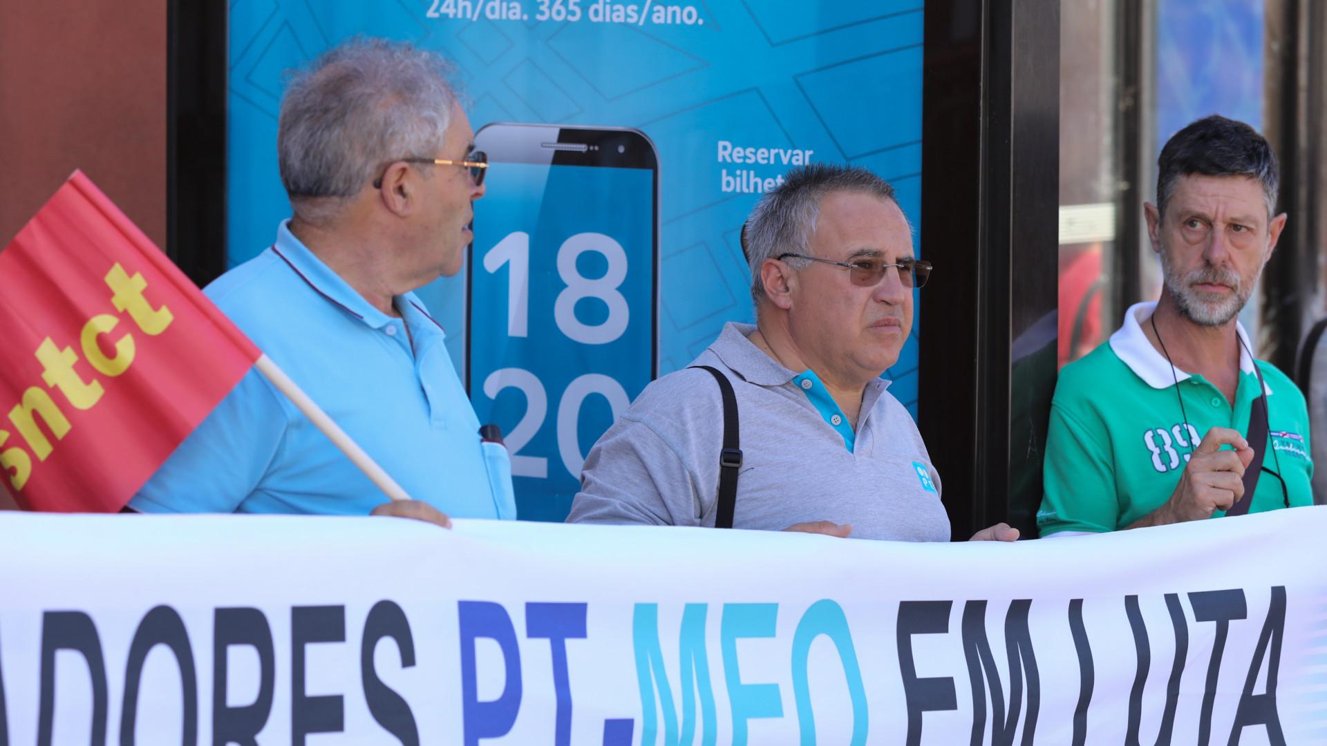 Trabalhadores da PT/Meo em protesto hoje pela defesa da empresa