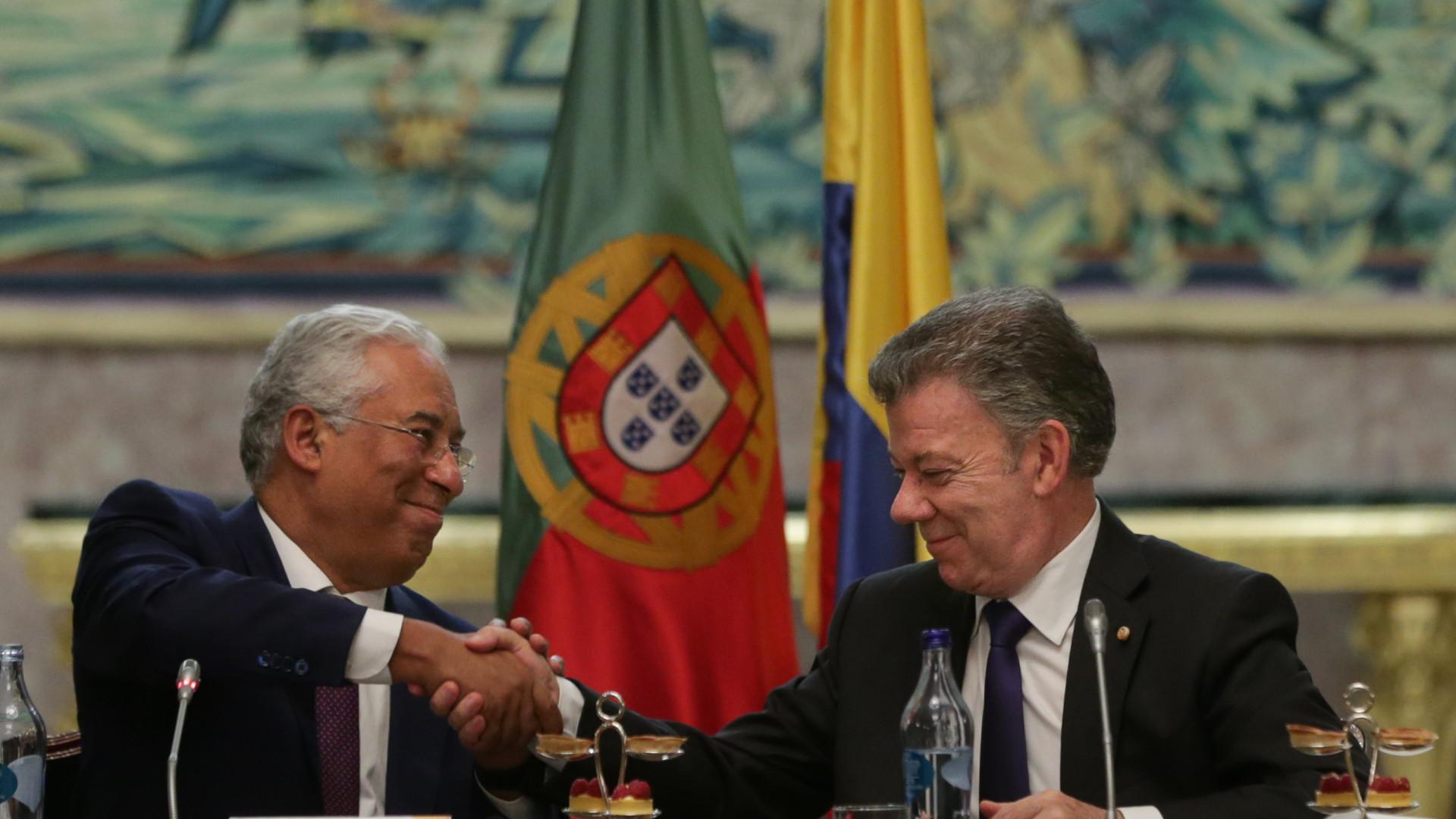 Costa salienta estabilidade política nas relações Portugal e Colômbia