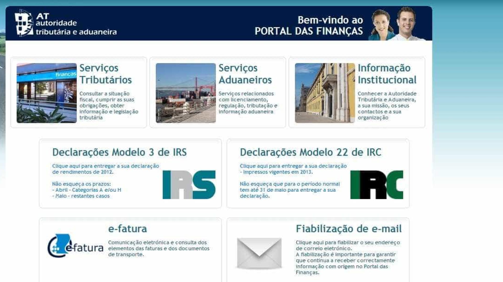 Portal das Finanças disponível depois de 5 horas em baixo