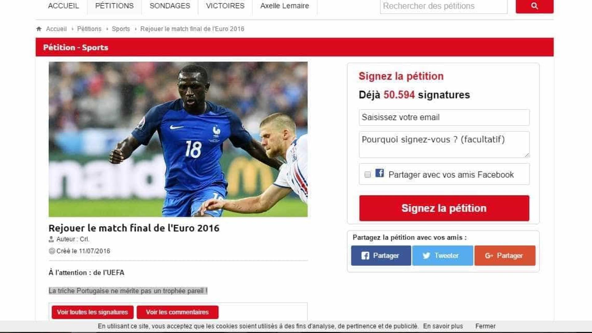 Em França já circula uma petição a pedir a repetição da final do Euro
