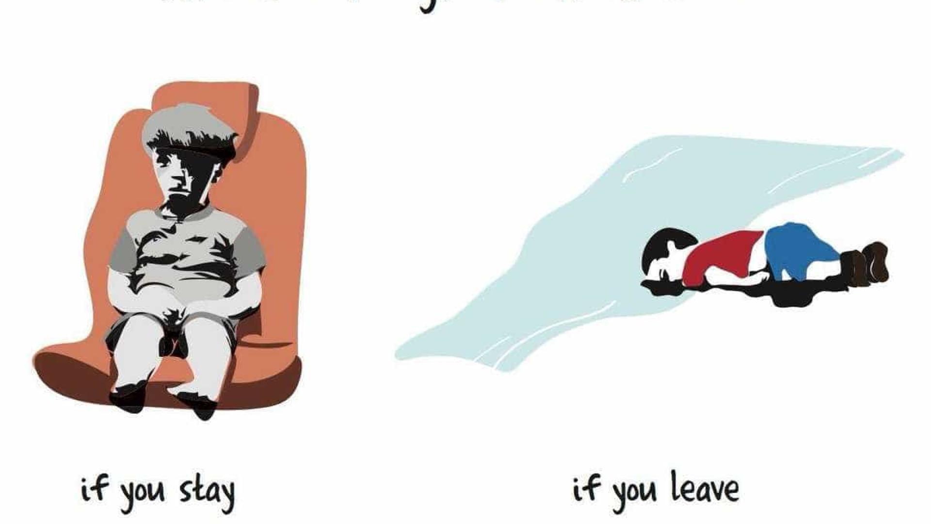Ir ou ficar? O drama das crianças sírias, numa simples ilustração