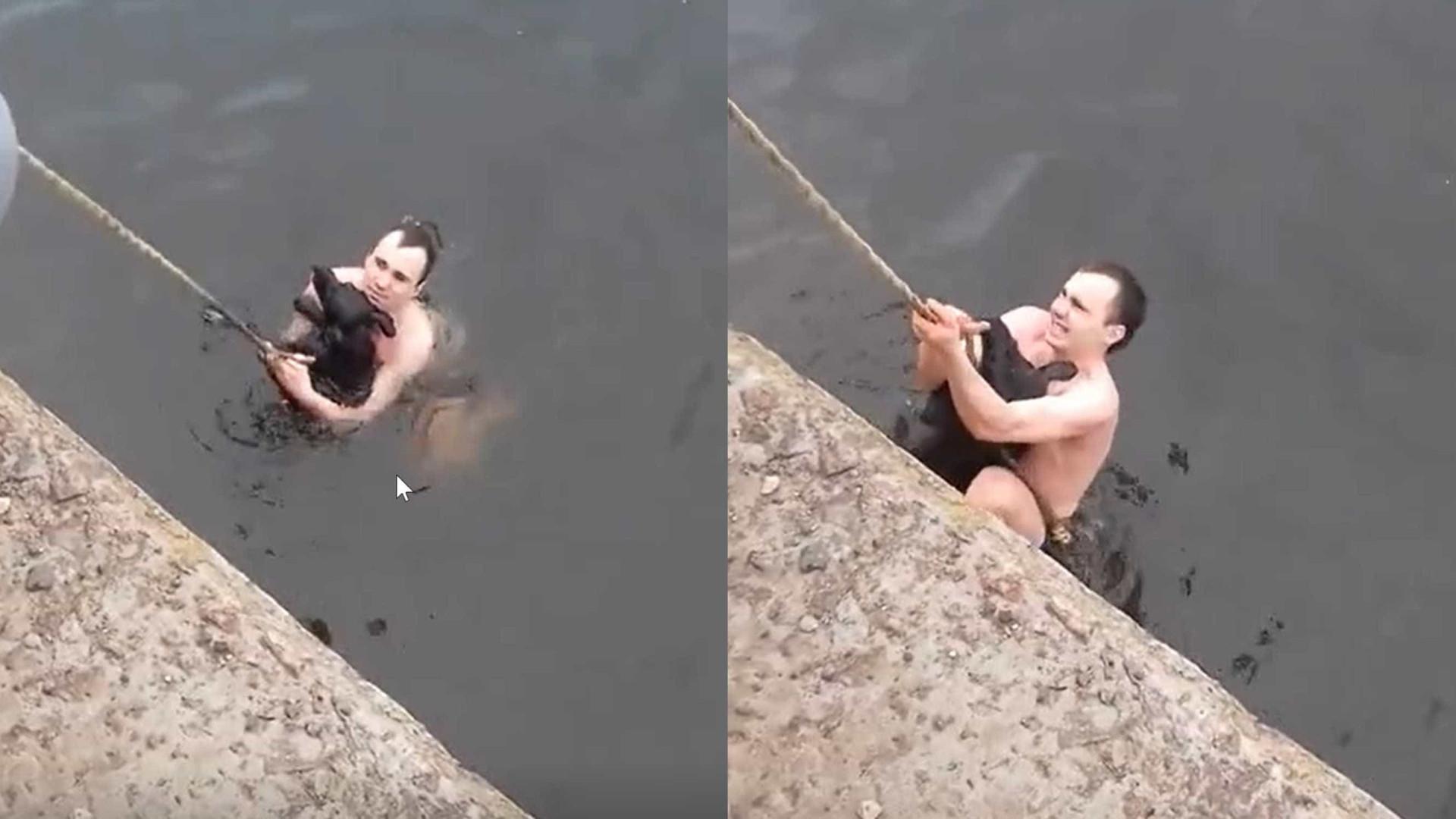 Jovem salva cão de lago gelado