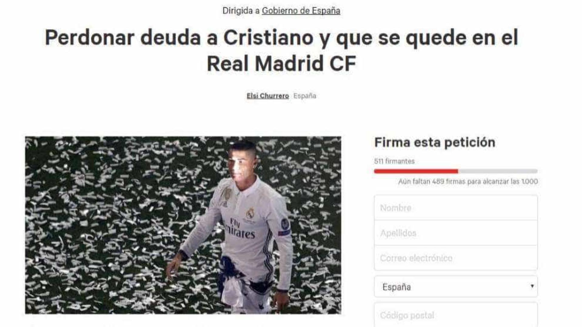 É criada petição para retirar denúncia do fisco a Cristiano Ronaldo