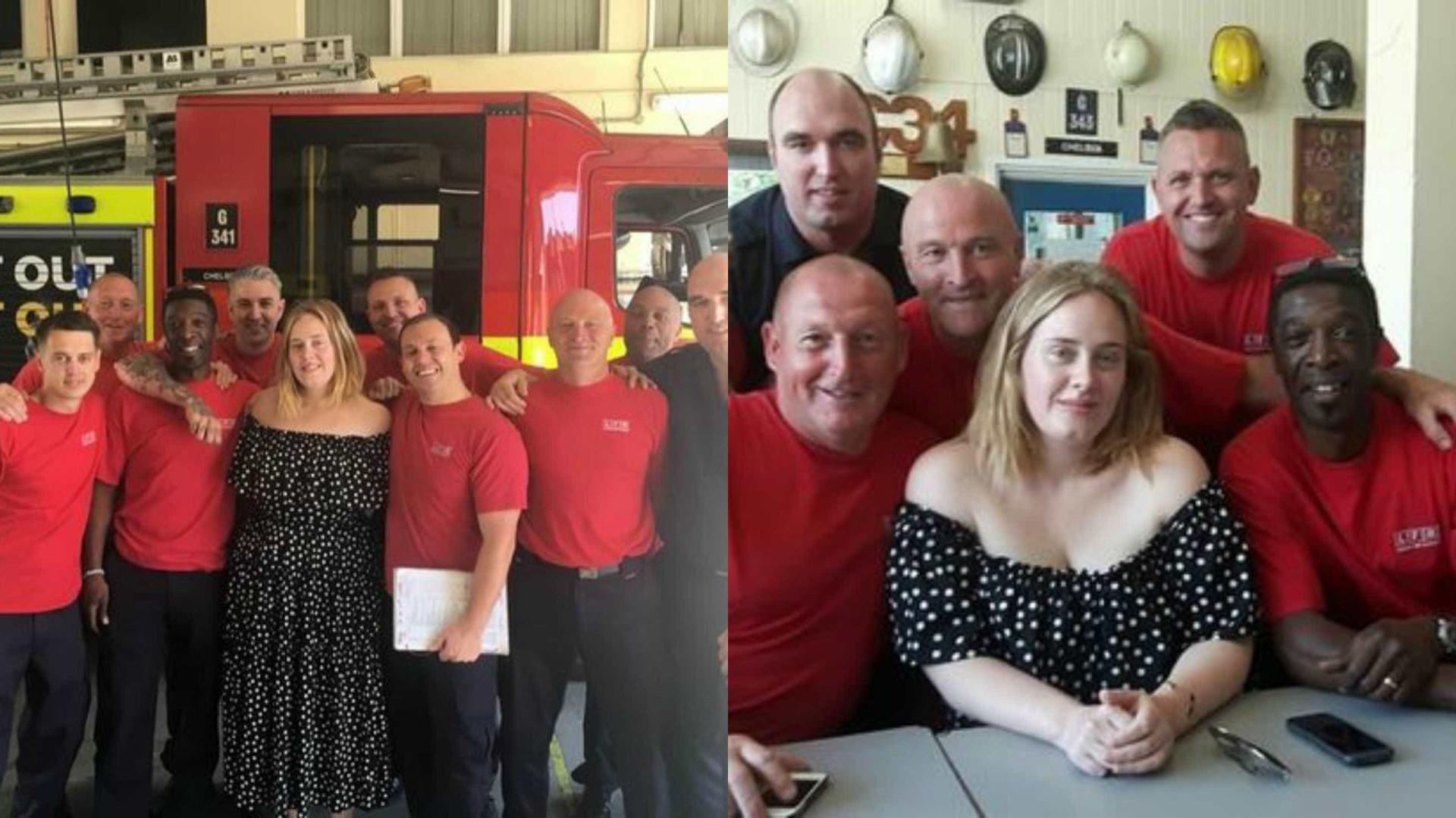 """Adele surpreende bombeiros com """"um chá e um abraço"""""""