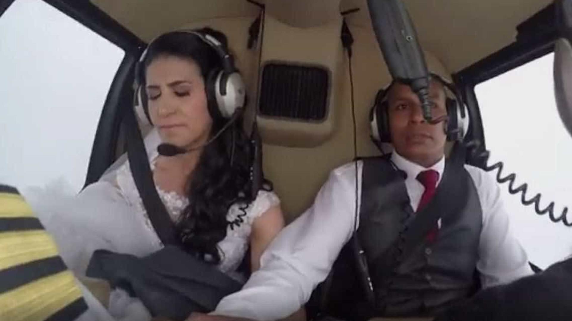 Queda de helicóptero filmada do interior do aparelho — Vídeo