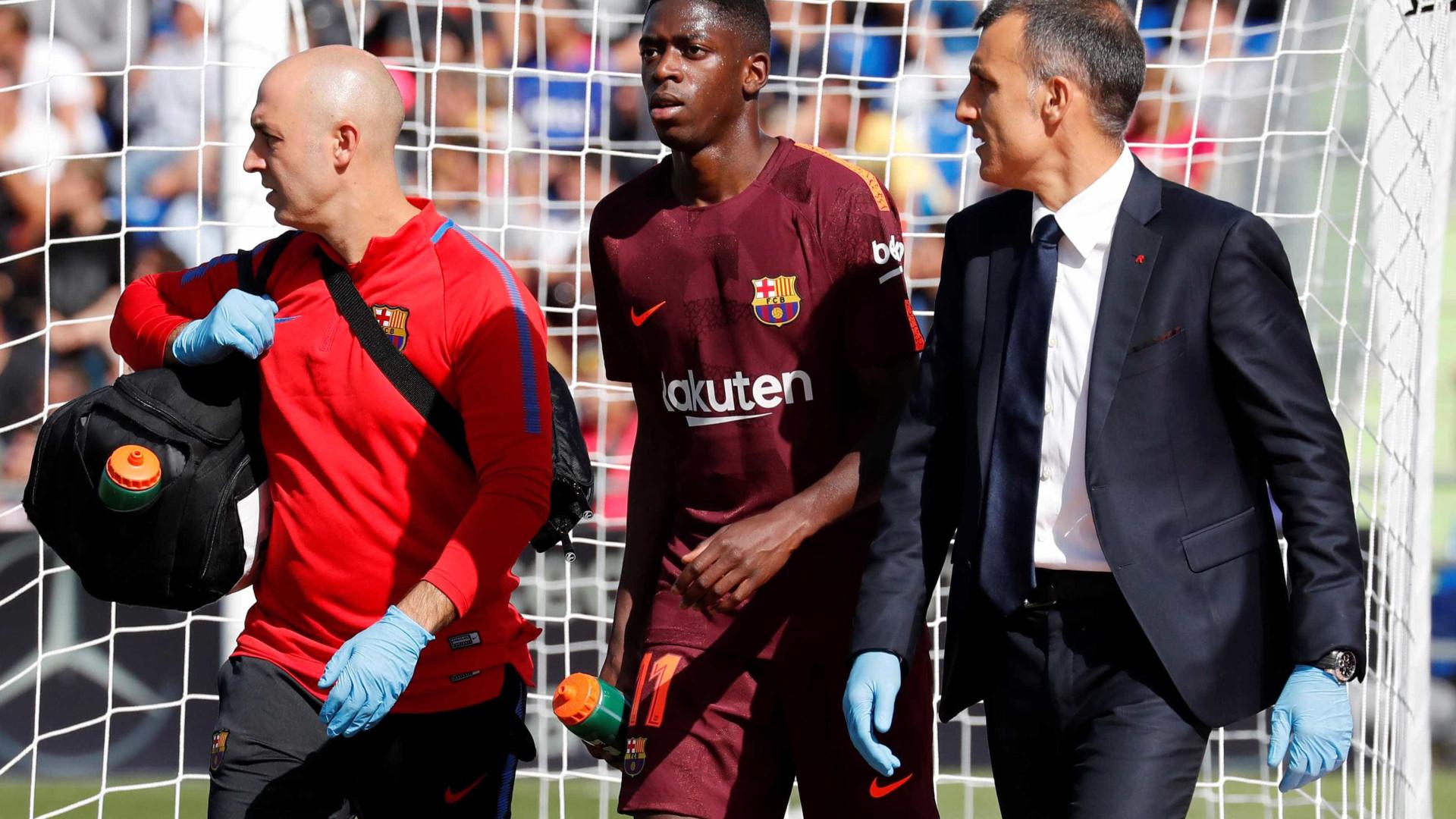 Alerta em Camp Nou: Dembélé lesionou-se e pode falhar jogo com o Sporting