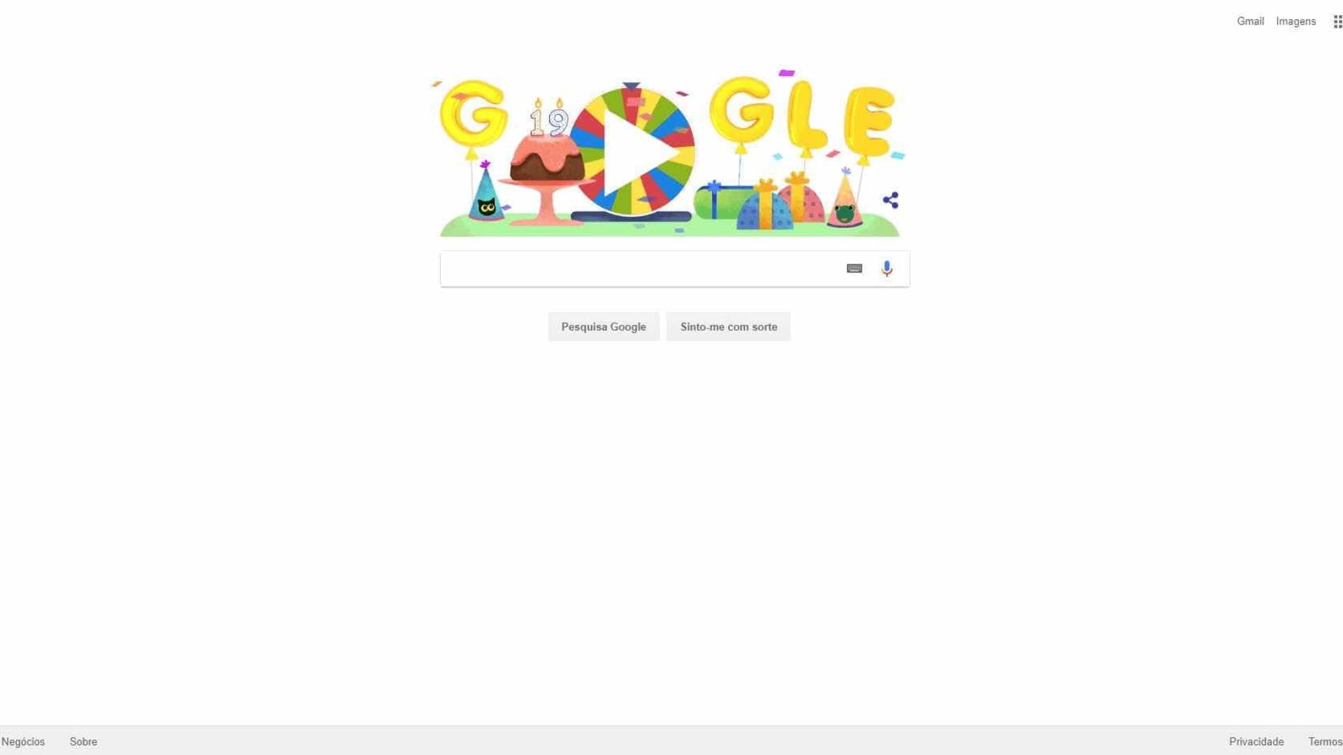 Na festa de 19 anos empresa disponibiliza 19 joguinhos — Aniversário do Google