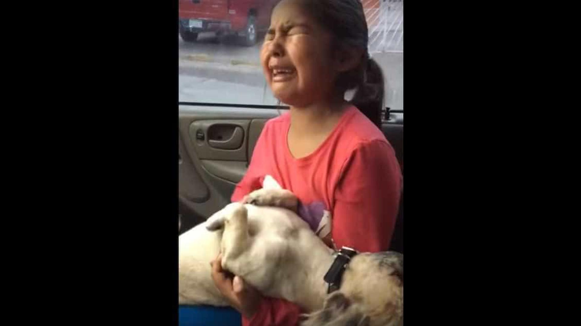 Menina chora desalmadamente quando vê o resultado da tosquia do seu cão