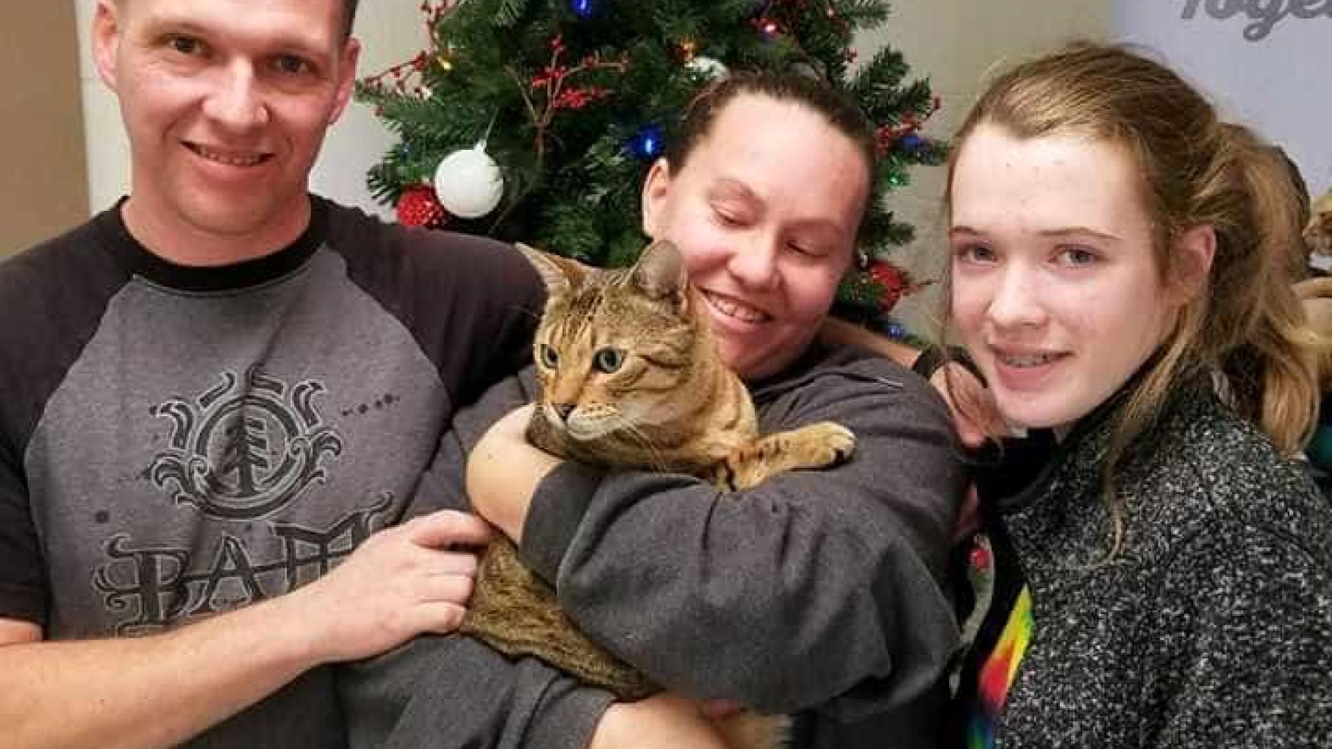Três anos depois a família Tuttle recuperou o seu gato Raja