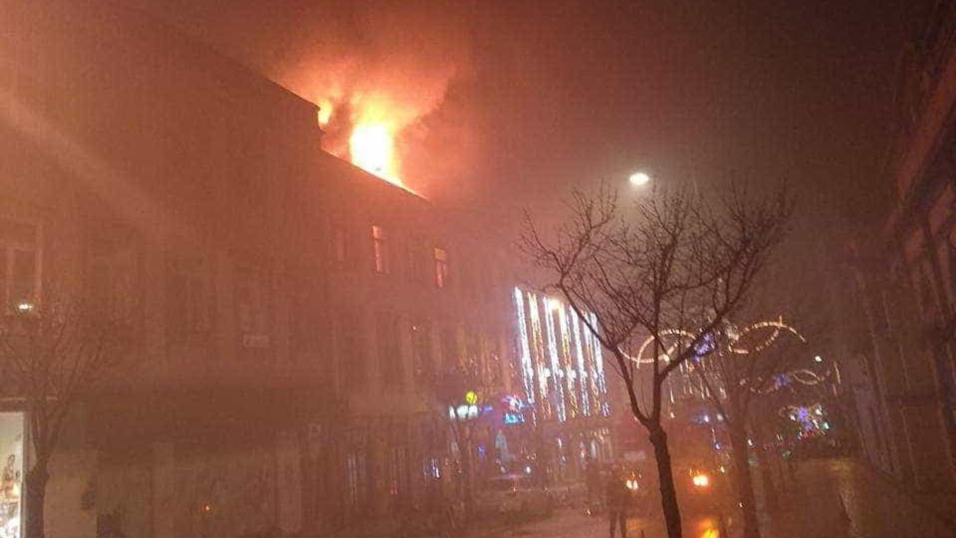 Incêndio em prédio junto ao Coliseu do Porto