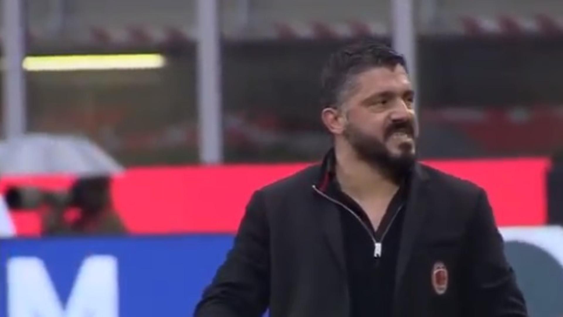 O Milan ganhava pela margem mínima e Gattuso não parou até ao apito final