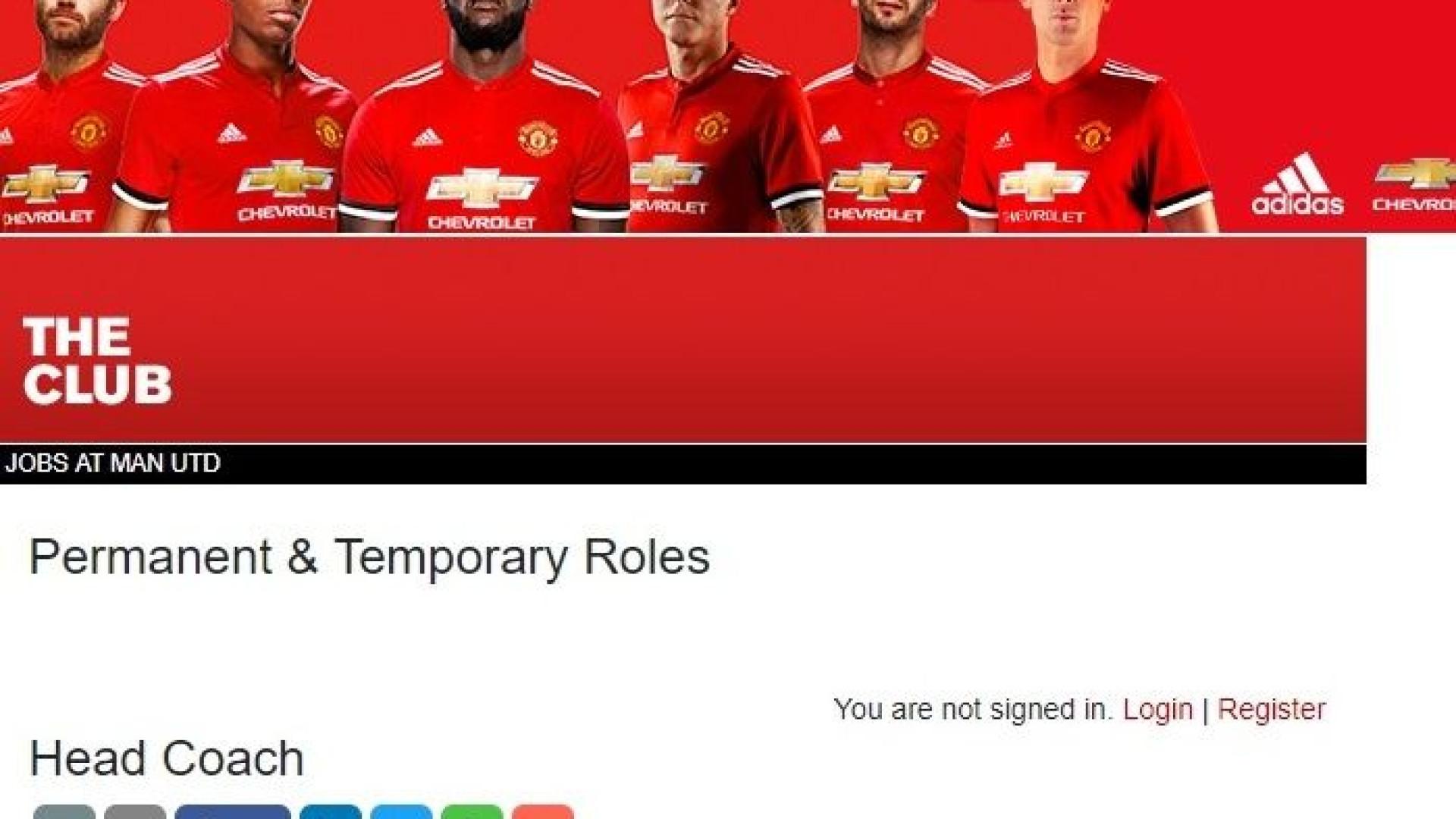 Na secção de emprego do United, alguém se esqueceu de um 'despedido'