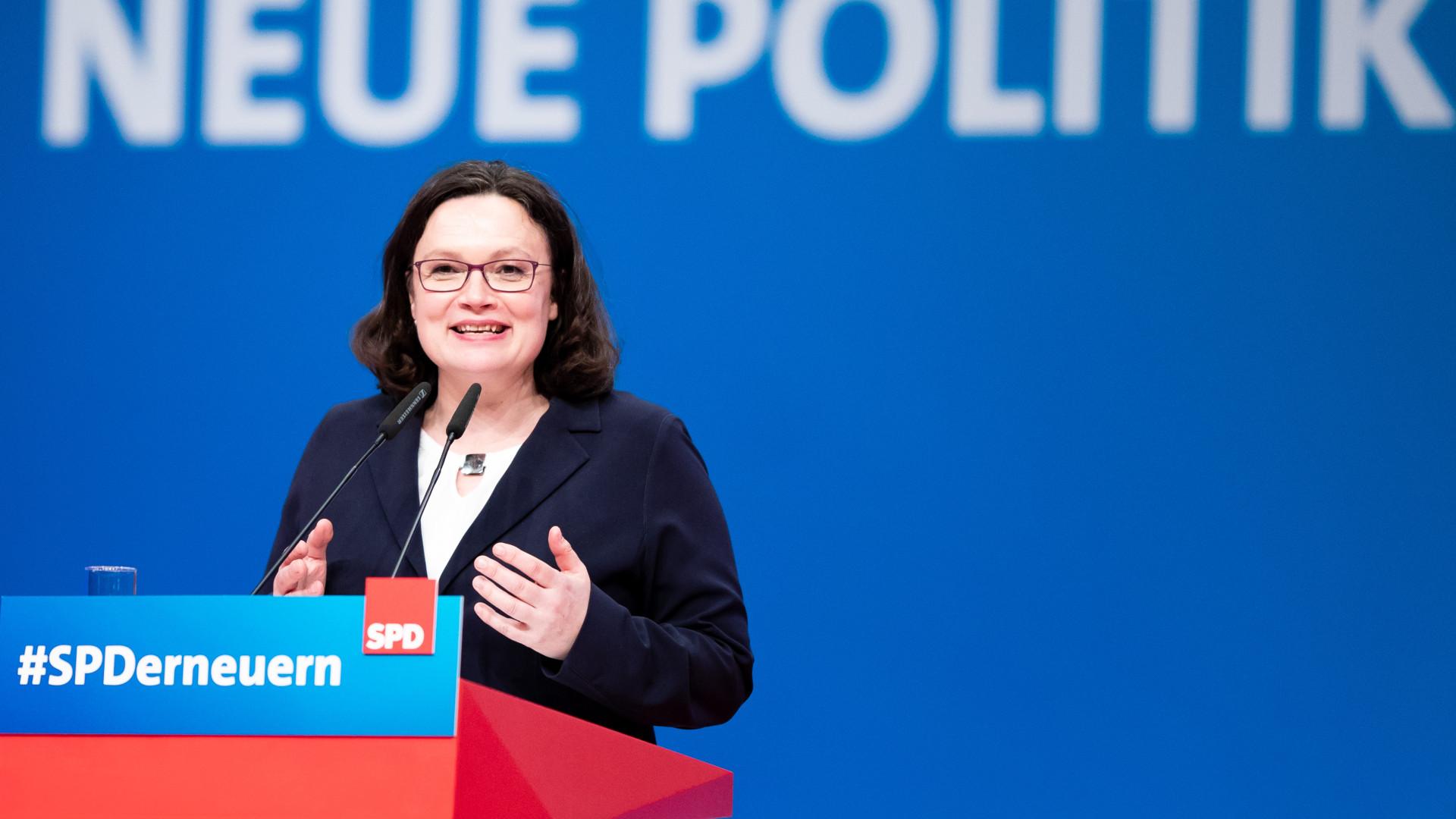 Partido Social-Democrata alemão elegeu Andrea Nahles como presidente