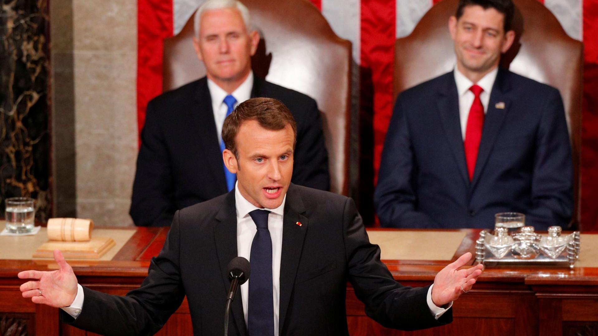 """Macron pede no Congresso dos EUA para """"reinventarem o multilateralismo"""""""