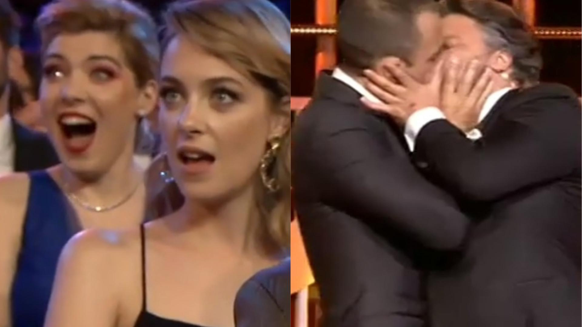 Victoria Guerra e Strada espantadas com beijo de Fidalgo e César Mourão
