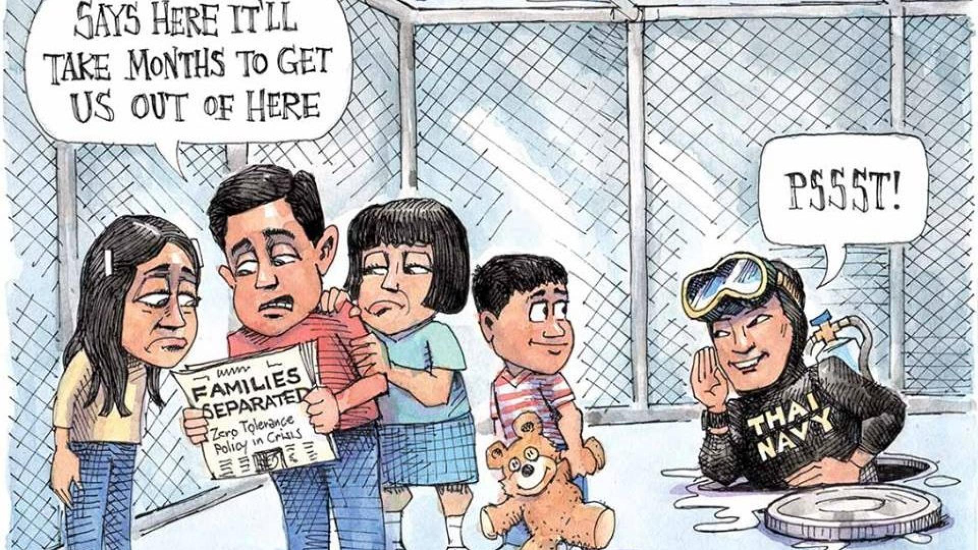 Cartoon põe mergulhador a resolver casos de famílias imigrantes separadas