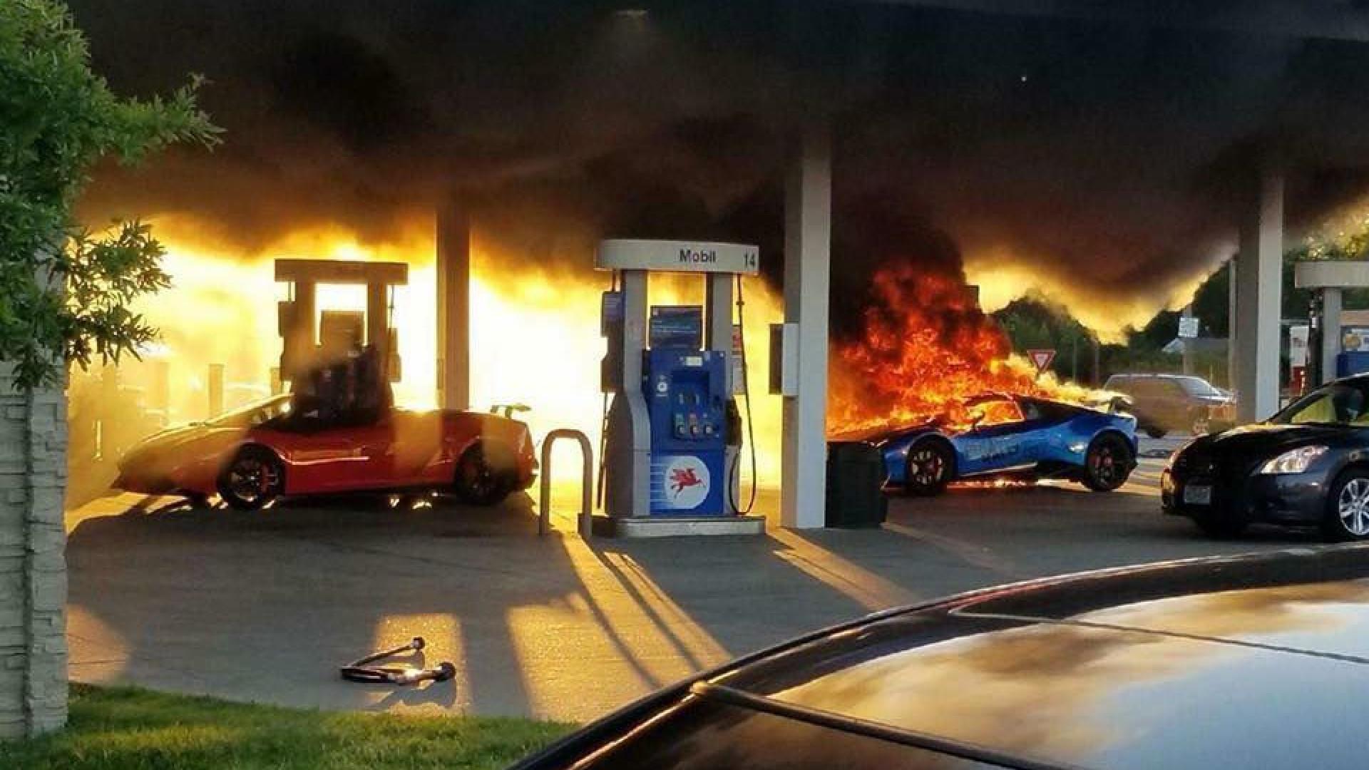 Lamborghini incendiou-se num posto de combustível nos EUA