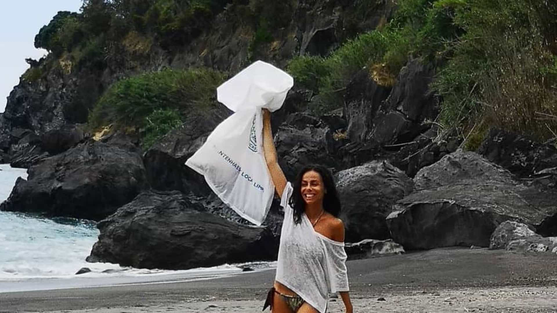 Filomena Cautela lança desafio da praia: Apanhar o lixo
