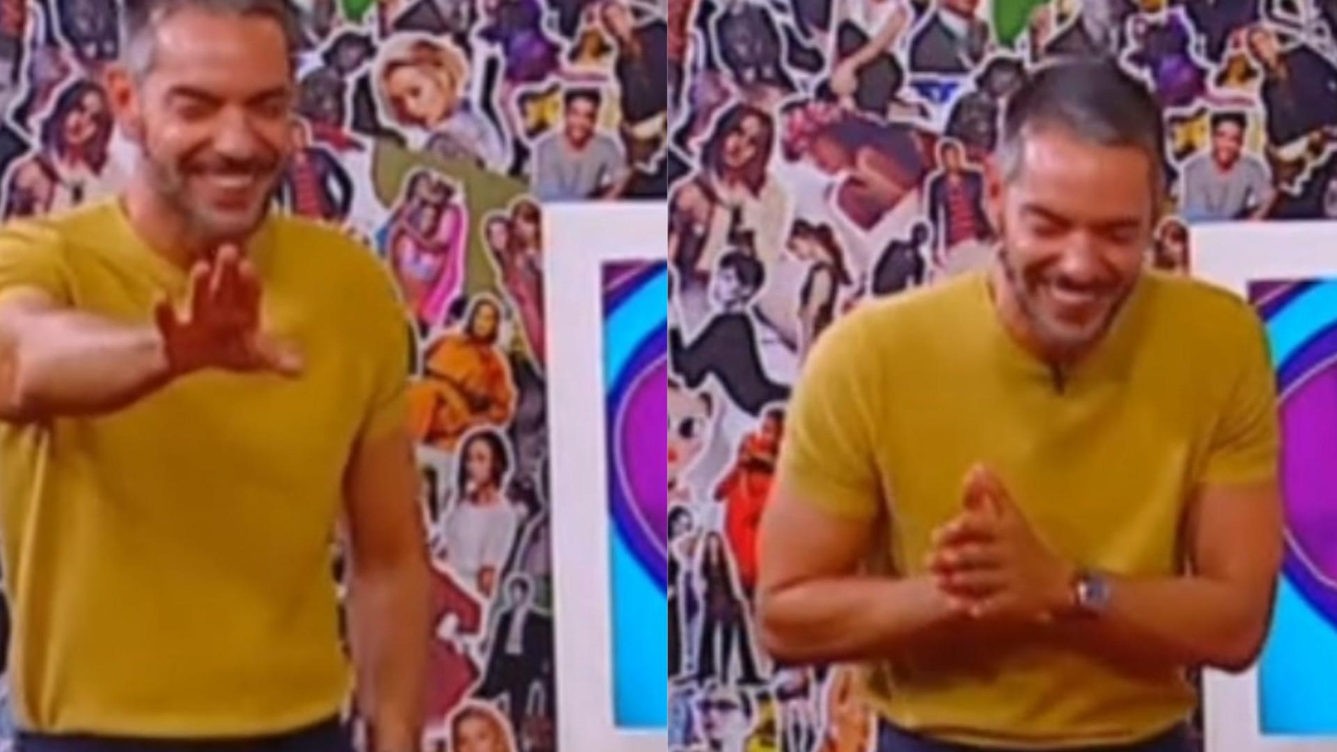 Cláudio Ramos tem ataque de riso em pleno programa