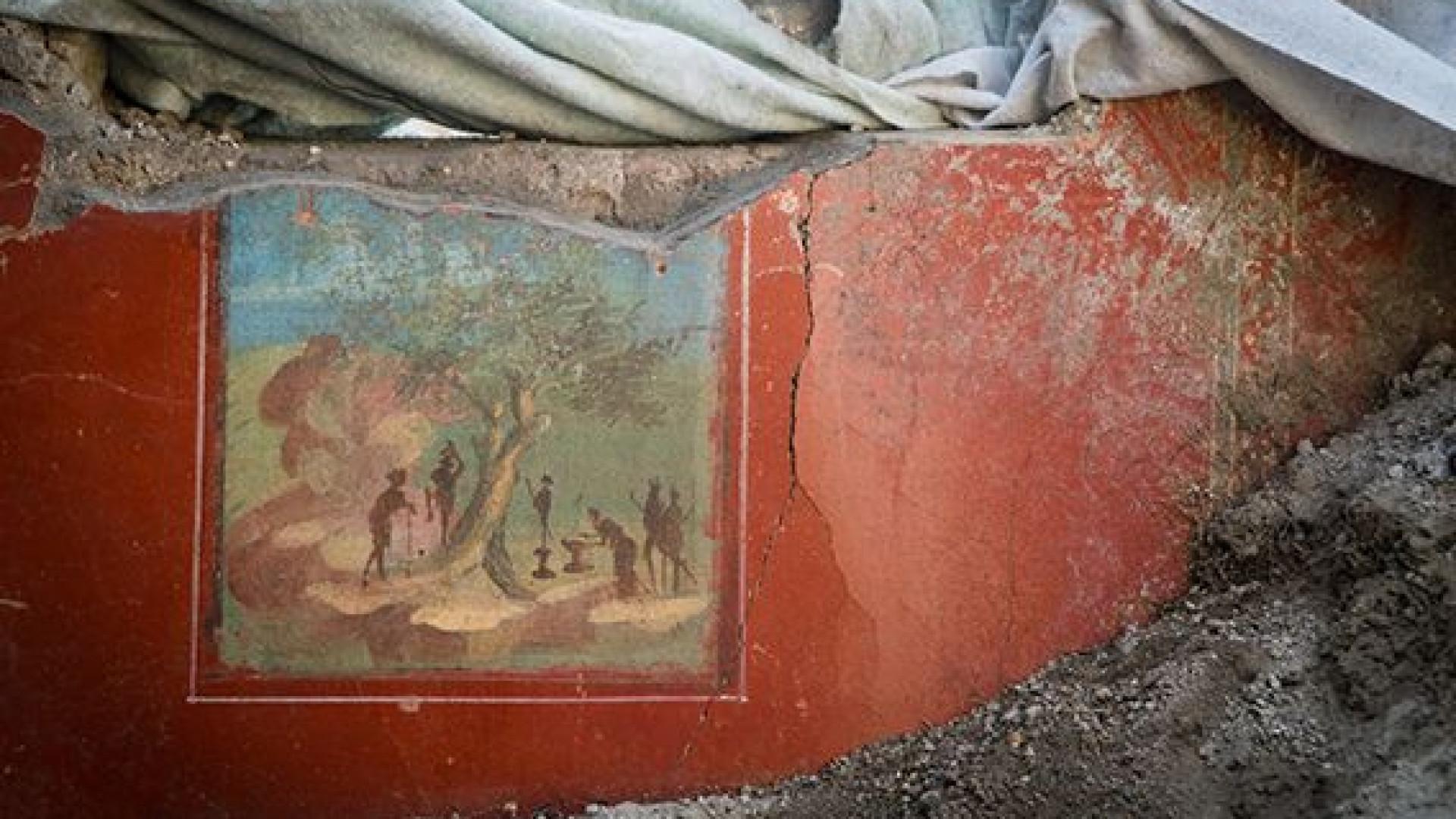 Frescos com 2 mil anos descobertos intactos em casa soterrada em Pompeia