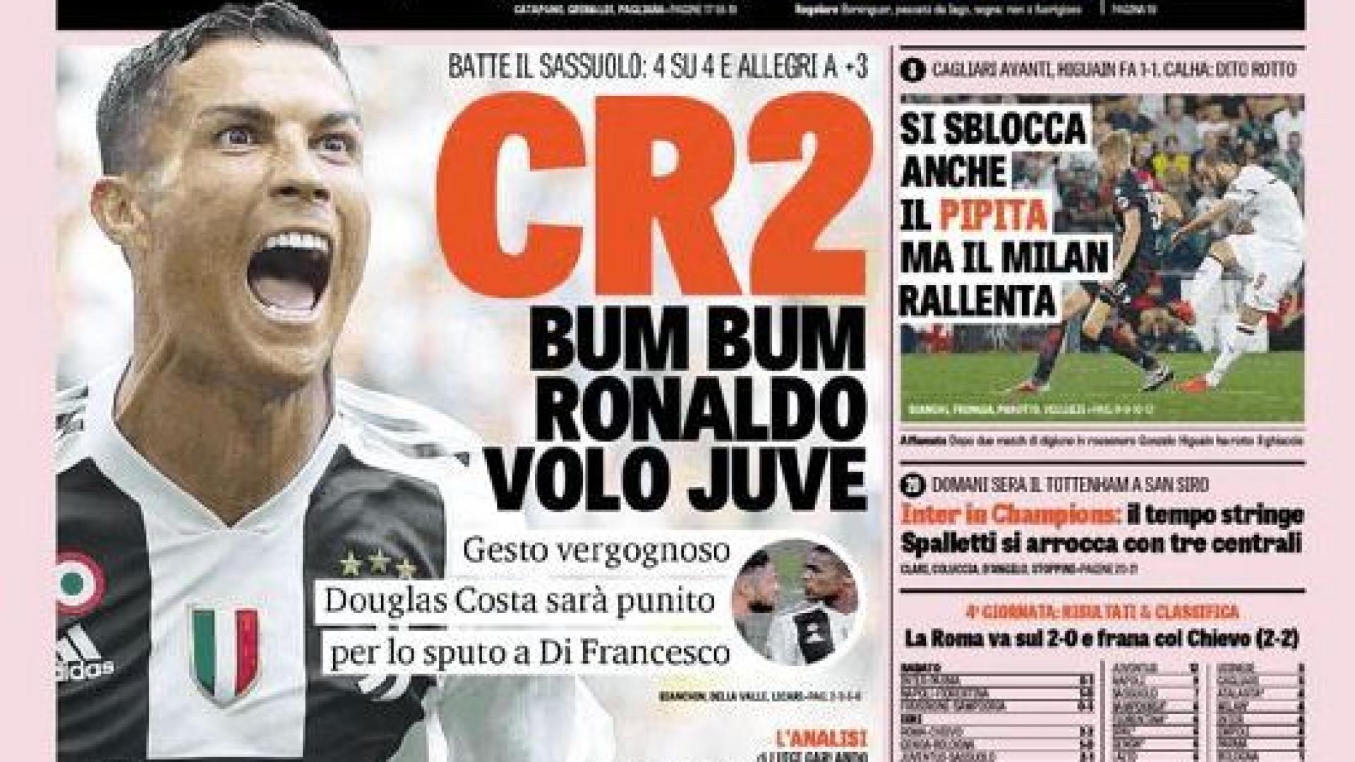 Lá por fora: Ronaldo virou CR2 e 'voou' pelo estádio de Turim