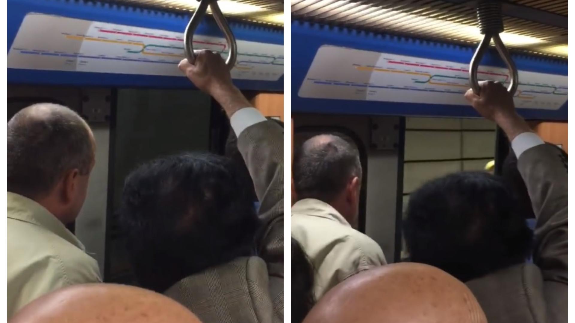 Imagens mostram o Metro de Lisboa a circular cheio e de porta aberta