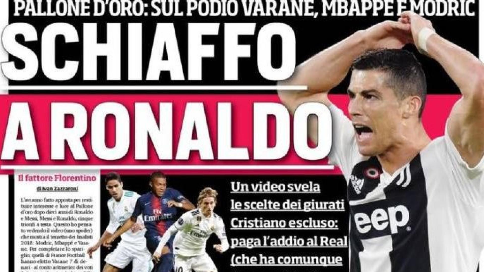 Lá fora: Italianos questionam Bola de Ouro longe de Ronaldo
