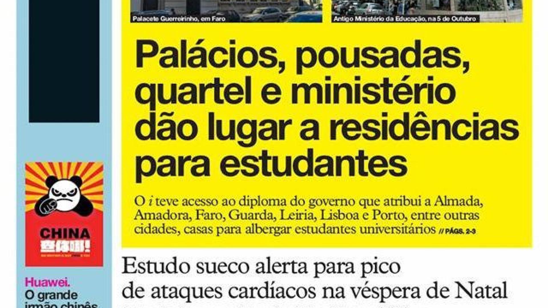 """Hoje é notícia: Vida de banqueiros """"intocáveis""""; Palácios para estudantes"""
