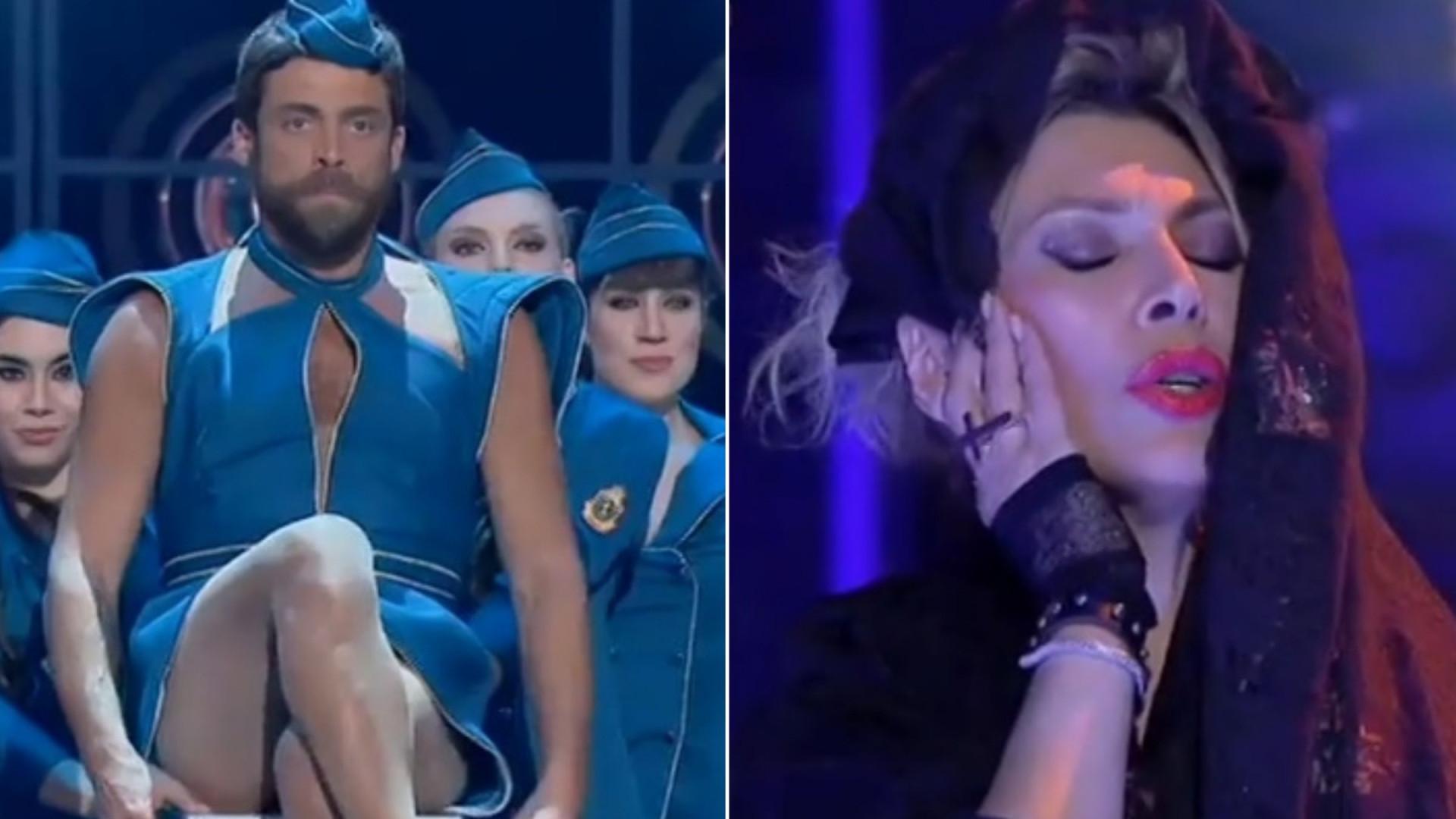 Diogo Amaral vestido de Britney Spears e Clara de Sousa em modo Madonna