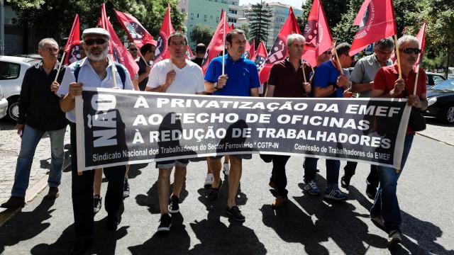 Ferroviários da EMEF em protesto contra desmembramento da empresa