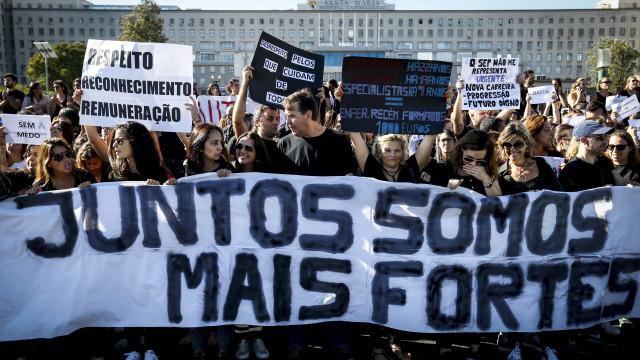 Manifestação nacional em Lisboa fecha 5 dias de protesto de enfermeiros