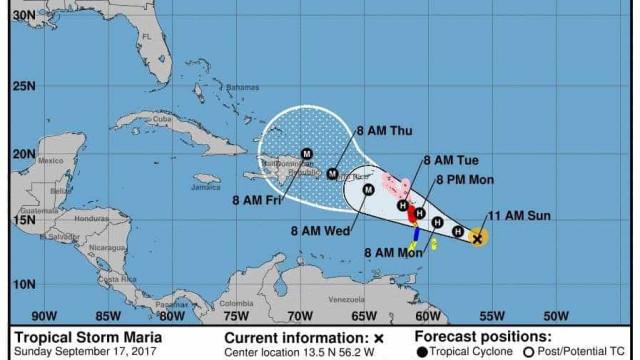 Furacão Maria reforça-se para categoria 3 e segue em direção às Caraíbas