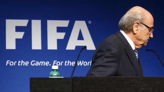 Antigo presidente da FIFA Sepp Blatter assiste ao Portugal-Marrocos