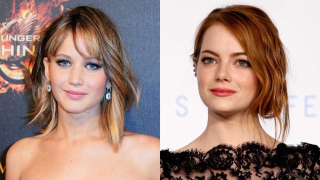 Emma Stone filma Lawrence com apenas metade do rosto maquilhado
