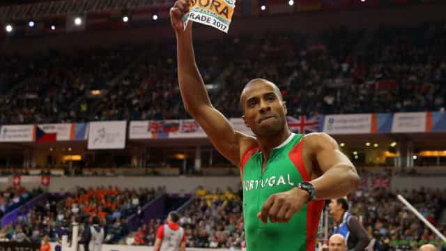 Nélson Évora na final de Triplo Salto nos Mundiais de Atletismo