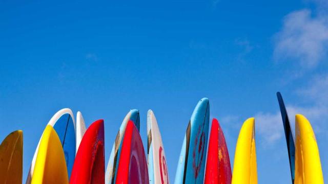 Investidores trocam contactos... e o fato de executivo pelo de surf