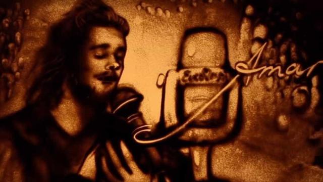 De areia se faz o tributo desta artista ucraniana a Salvador Sobral