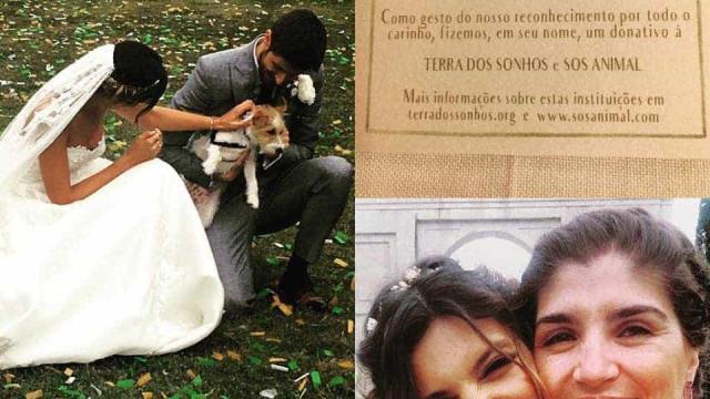 No dia do casamento Andreia e Daniel não se esqueceram da solidariedade