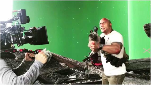 The Rock partilha momento hilariante durante gravação de 'Rampage'