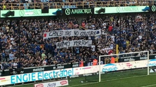 Adeptos do Brugge homenagearam Yeray, jogador do Bilbao com cancro