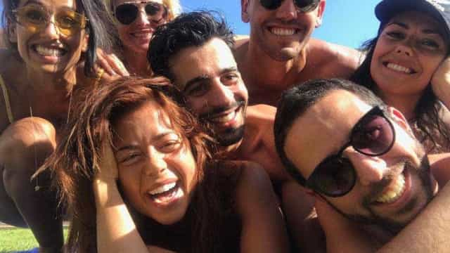 Rita, Pedro, Cristina e Sofia juntos em momentos de diversão