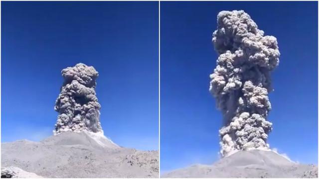Vulcão Sabancaya no Peru entra em erupção