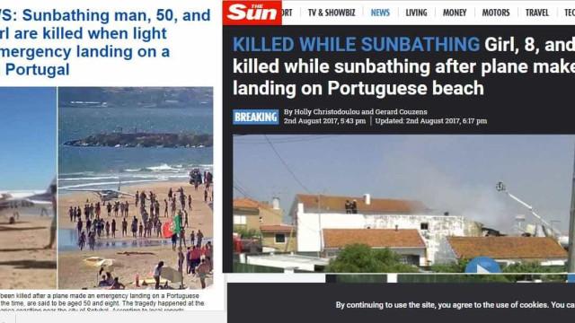 Imprensa britânica noticia acidente com avioneta na Caparica