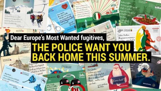 """""""Criminosos, queremo-vos de volta a casa no verão"""". Os postais da Europol"""